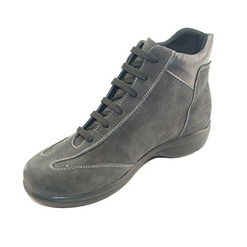 Hergos H 9103grau–Schuh komfortabel und elegant, echtes Leder und Wildleder–Rabatt letzten Zahlen Grau