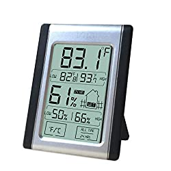 Digital Thermometer And Hygrometer Indoor Humidity Temperature Monitor With Battery Included Large Bright Lcd Display For Quick Reading Multiple Mounting Options Convenient Touch Screen