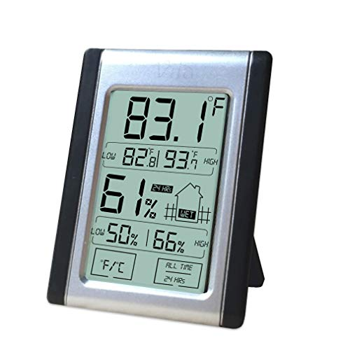Floor Monitor Standard (Digital Thermometer and Hygrometer --- Indoor Humidity & Temperature Monitor with Battery Included - Large, Bright LCD Display for Quick Reading - Multiple Mounting Options - Convenient Touch Screen)