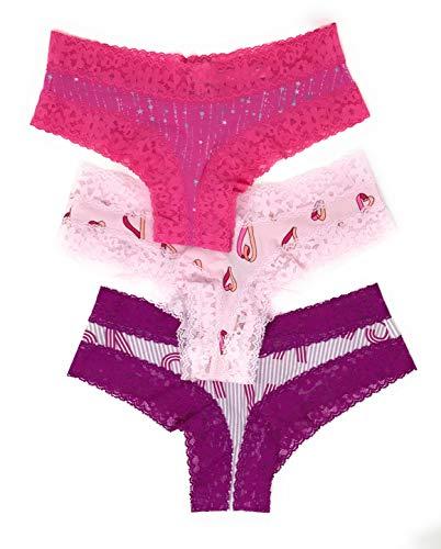 641247ad6 Victoria s Secret Lace Cheeky Panty Set of 3 Medium Pink Stars Light Pink  Hearts