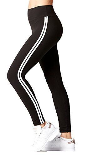 Premium Ultra Soft High Waist Leggings for Women - SL3 Full Length Stripe Black/White - Small/Medium