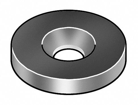Countersunk Washer, 0.281 IDx2 In OD, SS by GRAINGER APPROVED (Image #1)