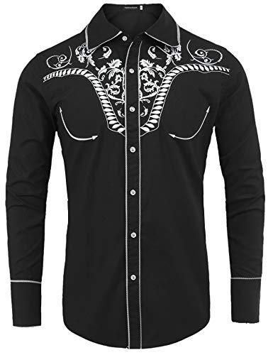 Embroidered Paisley Shirt - Uniboutique Men's Classic Fit Embroidered Paisley Slim Fit Long Sleeve Casual Button Down Shirt Black XL