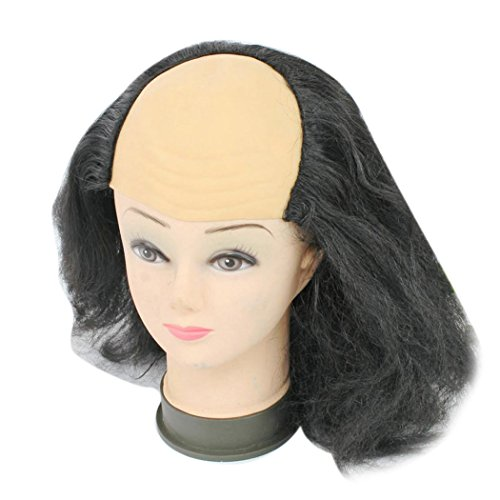 Inkach Funny Old Lady Wigs Masquerade Supplies Bald Bald Wig (Black)