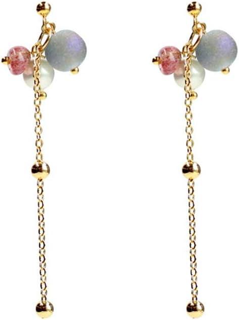 STZSHION Flash Ágata Piedra Fresa Cristal Sección Larga Perla Mujer Pendientes Colgantes Pendientes De Joyería para Niñas Pendientes De Botón De Oreja Clips (Color : 01)