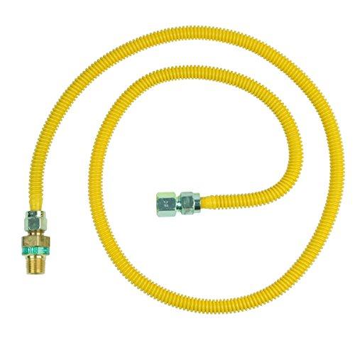 (BrassCraft CSSD45E-60 P 1/2-Inch MIP EFV x 1/2-Inch FIP x 60-Inch Safety+PLUS Gas Appliance Connector, 1/2-Inch OD 53,200 BTU)