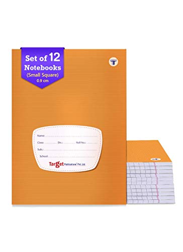Target Small Square Ruled Notebooks (76 Pages) | Soft Brown Cover | 18 cm x 24 cm Approx | Maths Exercise Small Notebooks (Square - 0.9 cm) | Pack of 12 Books | GSM 58