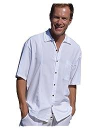 Cotton Natural Short Sleeve Shirt Button Down Casual Summer Cruise Beach Shirt