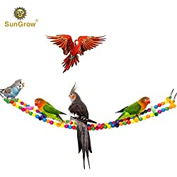 SunGrow Colorful Bird Ladder Bridge, 31 Inches Long, Made with Unprocessed Wood and Edible Dye, Helps Birds with Balance, Ideal Exercise and Fun Accessory for All Birds