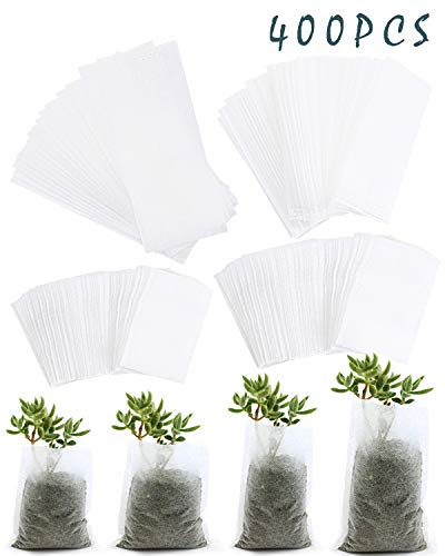 SBYURE 400 Pcs Biodegradable Non-Woven Nursery Bags Plant Grow Bags Fabric Seedling Pots,Nursing Growing Pouch,Home Garden Supply,4 Size