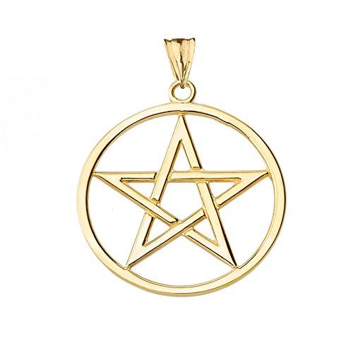 - Elegant 14k Yellow Gold Pentagram Charm Pendant