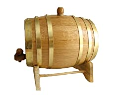 American Oak Barrel with Brass Hoops- 3 Liter or .8 Gallons