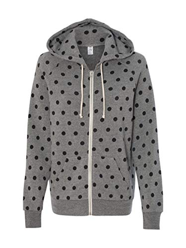 Alternative Women's Printed Adrian Fleece Zip-Front Hoodie, Eco Grey/Black Dot, Small (Front Zip Printed)