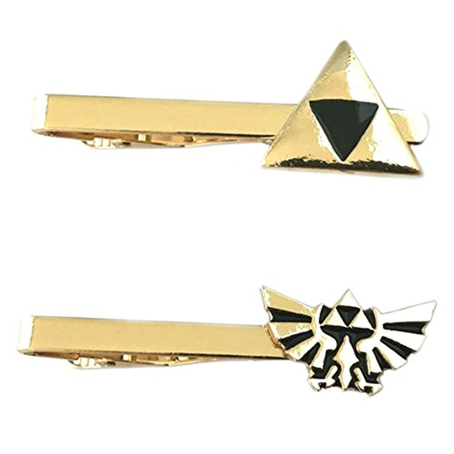 Outlander Video Games - Legend of Zelda Triforce & Legend of Zelda Hyrule - Tiebar Tie Clasp Set of 2 Wedding Superhero Logo w/Gift Box by Outlander