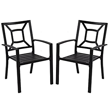 PHI VILLA Patio Metal Arm Chairs Indoor Outdoor Dining Chairs Set with Square Back, 2 Pack, Black