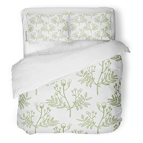 Semtomn Decor Duvet Cover Set Twin Size Antiseptic Great Burnet Pattern for of Medicinal Plant Apothecary 3 Piece Brushed Microfiber Fabric Print Bedding Set Cover