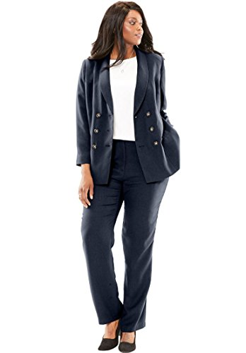 Jessica London Women's Plus Size Double-Breasted Pantsuit Navy,16