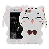 iPhone 6 Plus 6S Plus Case, Maoerdo Cute 3D Cartoon White Plutus Cat Lucky Fortune Cat Kitty with Bow Tie Silicone Rubber Phone Case Cover for Appl