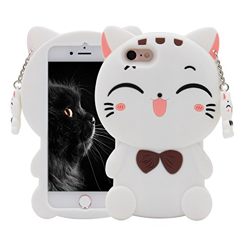 iPhone 7 Case, Maoerdo Cute 3D Cartoon White Plutus Cat Lucky Fortune Cat Kitty with Bow Tie Silicone Rubber Phone Case Cover for Apple iPhone 7 4.7 (Cartoons Characters)