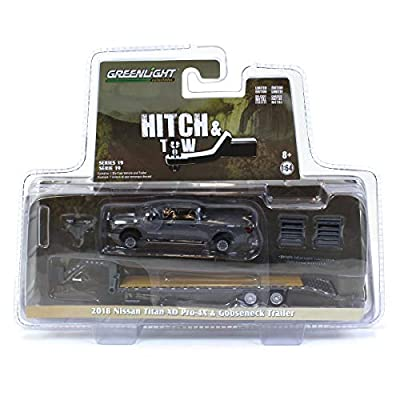 Greenlight 32190-C Hitch & Tow Series 19-2020 Nissan Titan XD Pro-4X and Gooseneck Trailer 1/64 Scale: Toys & Games