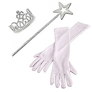 3 Piece Set: White Princess Gloves with Silver Tiara,Wand and Drawstring Bag