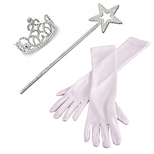 [3 Piece Set: White Princess Gloves with Silver Tiara,Wand and Drawstring Bag] (Cinderella Dress Up)