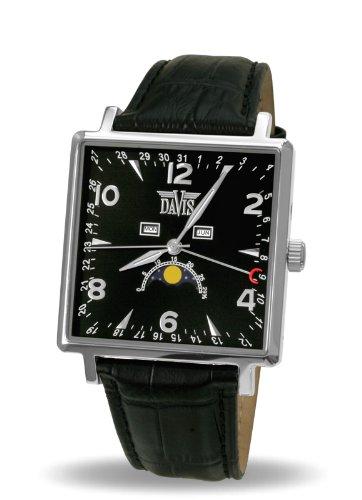 Davis-1730 - Reloj Hombre Fase Lunar Cuadrado Clásico Triple Calendario, Esfera Negra, Correa Piel Negra: Amazon.es: Relojes