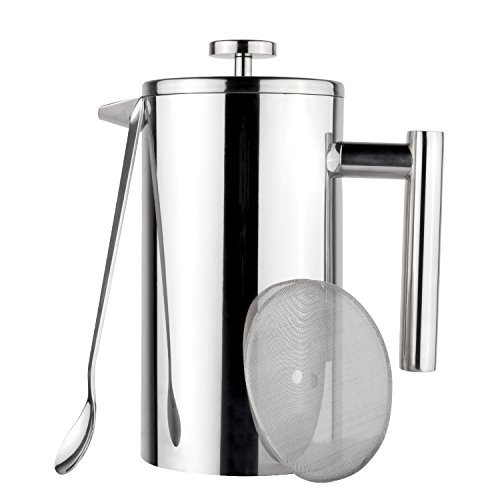 Coffee Maker Tea Maker, 304 Stainless Steel Double Insulation, with Mixing Spoon and Bonus Screen (1 Liter, 34 oz) (Sterling Silver Coffee Spoon)