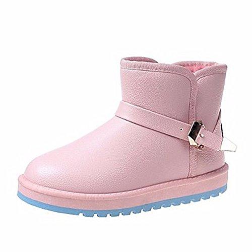 Blanc Femmes Chaussures Bout Mid D'hiver Uk4 rose Pour Noir Eu36 Cn36 Occasionnels Rose Rouge Bottes us6 Rond calf Neige Zhudj 6qEWdRgxRw