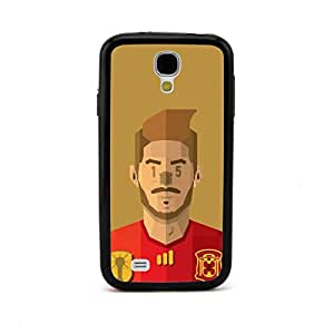 New - Spain Sergio Ramos Football Player Cartoon Head Embossed Design Black Bumper Plastic+TPU Case Cover for Samsung Galaxy S4 SIV I9500