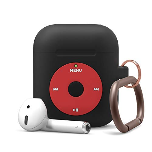 elago AW6 AirPods Hang Case - Classic Music Player Design, Extra Protection, Carabiner Included Compatible with AirPods 2/1 [US Patent Registered] (Black)