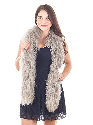 StylesILove Mongolian Lamb Fur Ultra Soft Scarf - 6 Color (Fog)