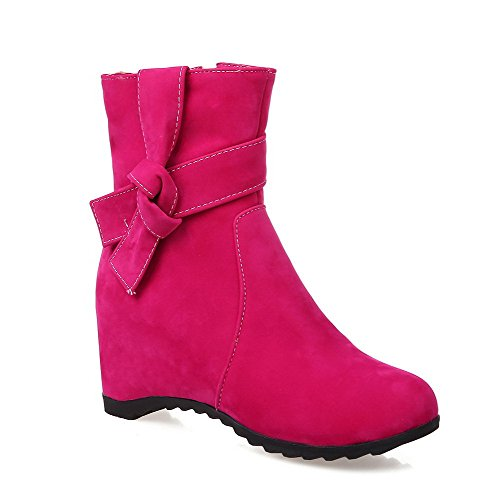 AllhqFashion Womens Imitated Suede Kitten Heels Round Closed Toe Solid Zipper Boots Peach D3Slnzpjg9