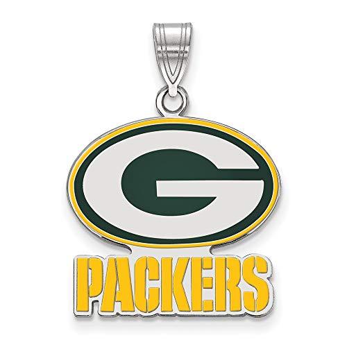 NFL Sterling Silver Green Bay Packers Large Enamel Pendant