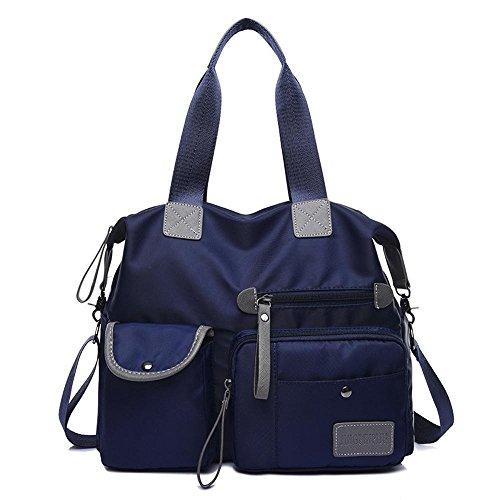 Penao Sac à main en nylon casual, sac de messager épaule femme fashion, taille 35cmx13cmx30cm Blue