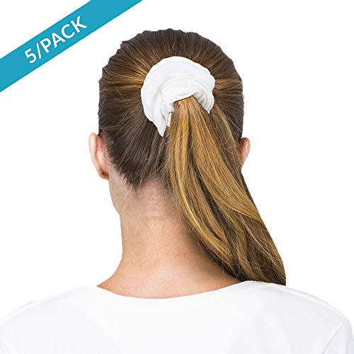 Cottonique Womens Hypoallergenic Scrunchy Made from 100% Organic Cotton (5/Pack)