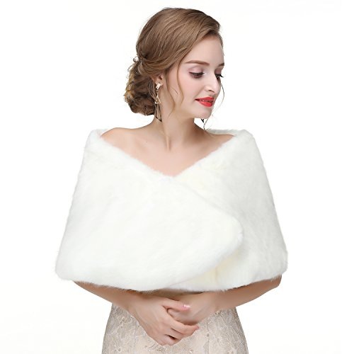 Women's Faux Fur Shawl Stole Brides Shoulder Cover Up Wedding Wrap Shrug Scarves White Mink Fur 47