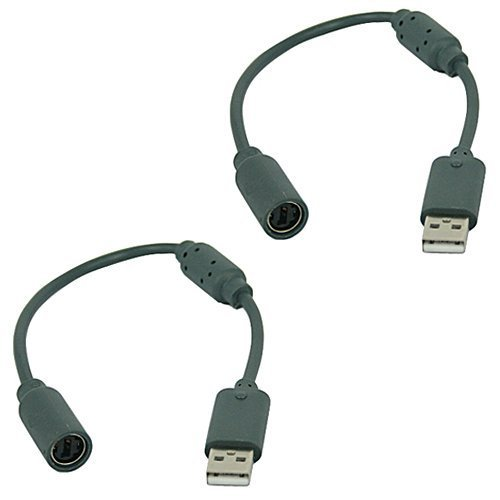 X-group 2 Pack Replacement Dongle USB Breakaway Cable for Xbox 360 Wired Controllers - Dark Grey ()