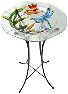 Continental Art Center NS1936C Bird Bath Set with Stand, 12.5-Inch, Dragonfly