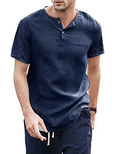 Taoliyuan Mens Linen Henley Shirt Short Sleeve Mandarin Collar Summer Beach Casual Frog Button Retro Blouse Shirt (XX-Large, D-Navy)