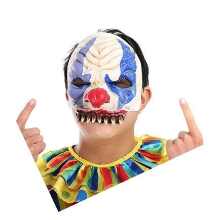YUFENG Scary Clown Mask for Adults for Halloween Party (Chinless)