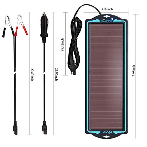 12V solar battery tender,solar trickle charger,Solar Battery Charger and Maintainer, Suitable for Automotive, Motorcycle, Boat, Atv,Marine, RV, Trailer, Powersports, Snowmobile, etc. (1.8W Amorphous) by SOLPERK (Image #6)