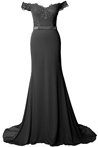 MACloth Women Off Shoulder Long Prom Dress 2017 Jersey Lace Evening Formal Gown Negro