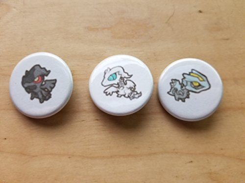 5x Pokemon Collectible 1'' inch Buttons - Zekrom Reshiram Kyurem Evolution Set - Custom Made - Pin Back - Gift Party Favor by Legacy Pin Collection
