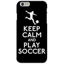 Apple iPhone 6+ (Plus) Custom Case White Plastic Snap On - Keep Calm and Play Soccer (Soccer Player)
