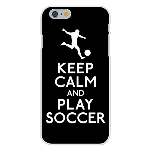 Custom Striker - Apple iPhone 6 Custom Case White Plastic Snap On - Keep Calm and Play Soccer (Soccer Player)