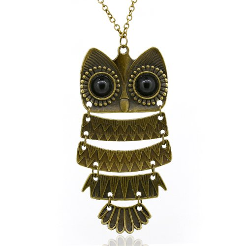 Vintage, Retro Colorful Crystal Owl Pendant and Long Chain Necklace with Antiqued Bronze/Brass Finish (3 Pcs: Design No.1 + No.2 + No.3)