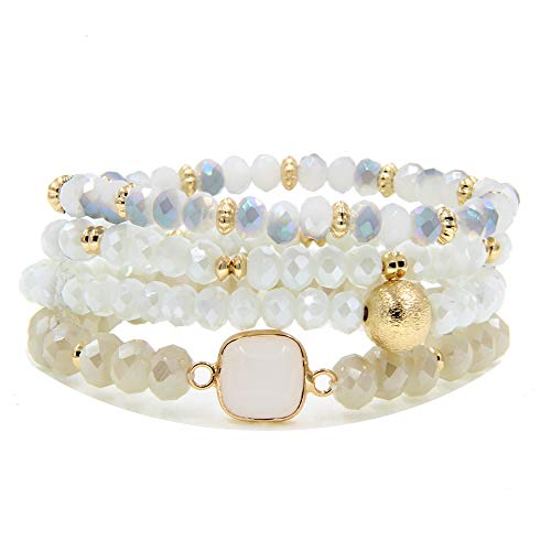 YUJIAXU Gold Beaded Bracelet Set, Square Stone Hexagon Druzy Stretch Beaded Stackable Bracelets Bangles WT