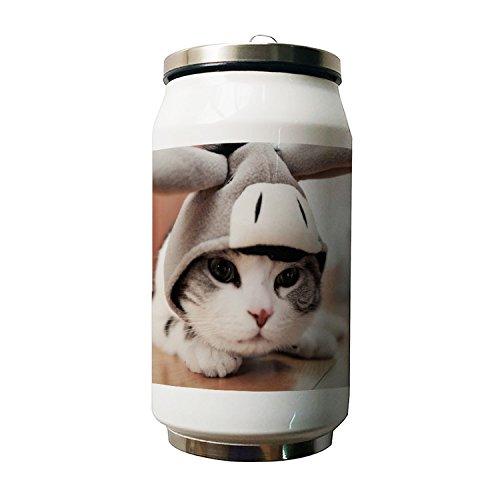 okoukiu Cute Cat Animal diseño doble vacío aislado botella de agua de acero inoxidable, 500ml 500ml
