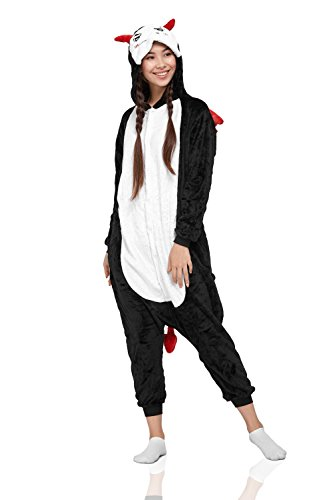 Adult Devil Akuma Demon Kigurumi Onesie Pajamas PJ Plush Onsie One Piece Costume (Medium, (Trajes De Halloween Baratos)